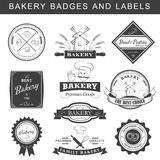 Set of vintage retro bakery logo badges and labels Stock Images