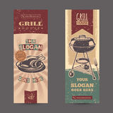 Set with vintage retro banners with grilled chicken Royalty Free Stock Images
