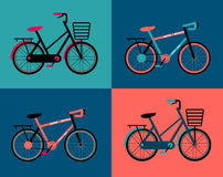 Set of Vintage Retro Bicycle vector illustration Stock Photography