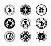 Set of vintage retro black labels: christmas Stock Photography