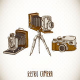 Set of Vintage Retro Camera Stock Photo