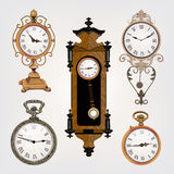 Set of vintage retro clocks Royalty Free Stock Photo