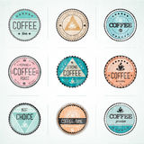 Set Of Vintage Retro Coffee Badges Stock Images