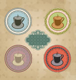 Set of vintage retro coffee labels with ornament Stock Image