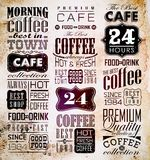 Set Of Vintage Retro Coffee. Retro Coffee  Labels and typography background . Coffee decoration collection Royalty Free Stock Photo