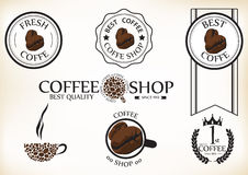 Set of vintage retro coffee shop badges and labels Royalty Free Stock Images
