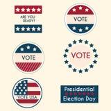 Set of vintage retro election badges and labels stock illustration