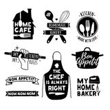 Set of vintage retro handmade badges, labels and logo elements, retro symbols for bakery shop, cooking club, cafe, food Stock Photos
