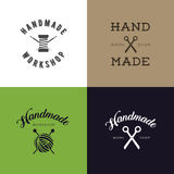 Set of vintage retro handmade badges, labels and logo elements, retro symbols for local sewing shop, knit club, handmade artist or Royalty Free Stock Photo