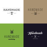 Set of vintage retro handmade badges, labels and logo elements, retro symbols for local sewing shop, knit club, handmade artist or. Knitwear company. Template Stock Image