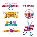 Set of vintage retro handmade badges, labels and vector illustration