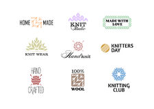 Set of vintage retro knitting badges. Set of vintage retro knitting badges, labels and logo elements, retro symbols for local yarn shop, knit club, handmade Royalty Free Stock Photography