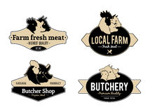 Set of Vintage Retro Labels, Design Templates for Meat Stores and Products Royalty Free Stock Images
