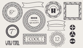 Set of vintage retro labels, stamps, ribbons, marks and calligraphic design elements, vector Stock Photo