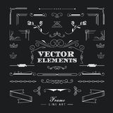 Set of vintage retro linear thin line art deco design elements g. Eometric shape with frame corner badge stock illustration