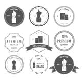 Set vintage retro mannequin shopping badges Stock Image