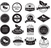 Set of vintage retro natural healthy logos Stock Photos