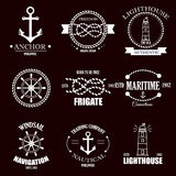 Set of vintage retro nautical badges and labels. Royalty Free Stock Photos