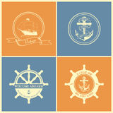 Set Of Vintage Retro Nautical Badges And Labels Royalty Free Stock Image