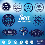 Set of vintage retro nautical badges, labels and icons. Set of vintage retro nautical  badges, labels and icons on blurred background - vector Royalty Free Stock Photography