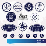 Set of vintage retro nautical badges, labels and icons Royalty Free Stock Photography