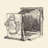 Set of Vintage, Retro, Old Camera, Hand Drawn Stock Image