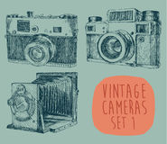 Set of Vintage, Retro, Old Camera, Hand Drawn Stock Photography