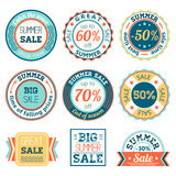 Set of vintage retro summer sale logos labels, posters, stickers, badges. Vector illustration. Royalty Free Stock Images