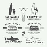Set of vintage retro surfing, summer and travel logos, emblems,. Badges, labels, marks, watermarks and design elements. Graphic Art. Vector Illustration Stock Photos