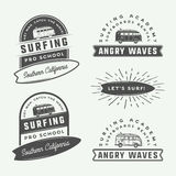 Set of vintage retro surfing, summer and travel logos, emblems, Royalty Free Stock Images