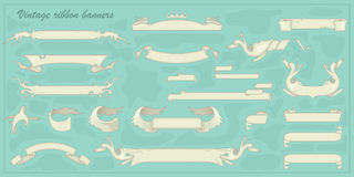 Set of vintage ribbon banners for your text.  Retro styled. Stock Photos