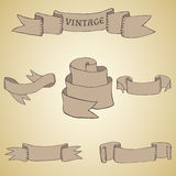 Set of vintage ribbons and banners Stock Photo