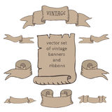 Set of vintage ribbons and banners. Vector set of vintage ribbons and banners Stock Photos