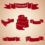 Set of vintage ribbons and banners. Vector set of vintage ribbons and banners Royalty Free Stock Photography