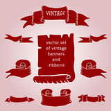 Set of vintage ribbons and banners. Vector set of vintage ribbons and banners Royalty Free Stock Photos