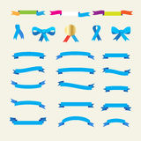 Set of vintage ribbons and bow tie Royalty Free Stock Photo