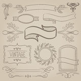 Set of vintage ribbons, frames and elements. Royalty Free Stock Image