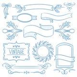 Set of vintage ribbons, frames and elements. Set of vintage labels, ribbons, frames, banners, logo and advertisements. Hand drawn vector sketch illustration on Stock Image