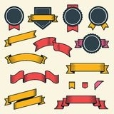 Set of vintage ribbons and labels isolated on white background. Line art. Modern design. Vector illustration Royalty Free Stock Images