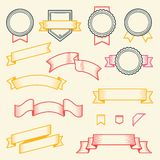 Set of vintage ribbons and labels isolated on white background. Line art. Modern design Stock Images