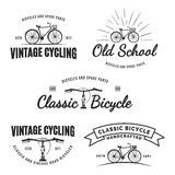 Set of vintage road bicycle labels, emblems, badges or logos. Stock Image