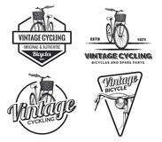 Set of vintage road bicycle labels, emblems, badges or logos. Royalty Free Stock Photo