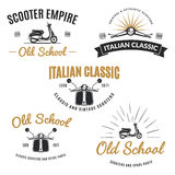 Set of vintage road scooter emblems. Stock Photos