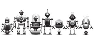 Set of vintage robot characters. Vector illustration stock illustration