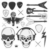 Set of vintage rock and roll design elements for emblems Stock Photography