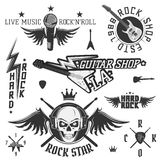 Set of vintage rock and roll emblems and logo Royalty Free Stock Images