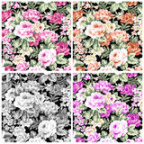 Set vintage rose on fabric for background.  Royalty Free Stock Photography