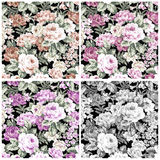 Set vintage rose on fabric for background.  Royalty Free Stock Images