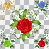 Set of vintage roses on a transparent background royalty free illustration