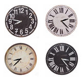 Set of vintage round clocks Royalty Free Stock Photography